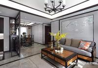 148平新中式,吊頂、地板設計好,顏值差不了,客廳太漂亮