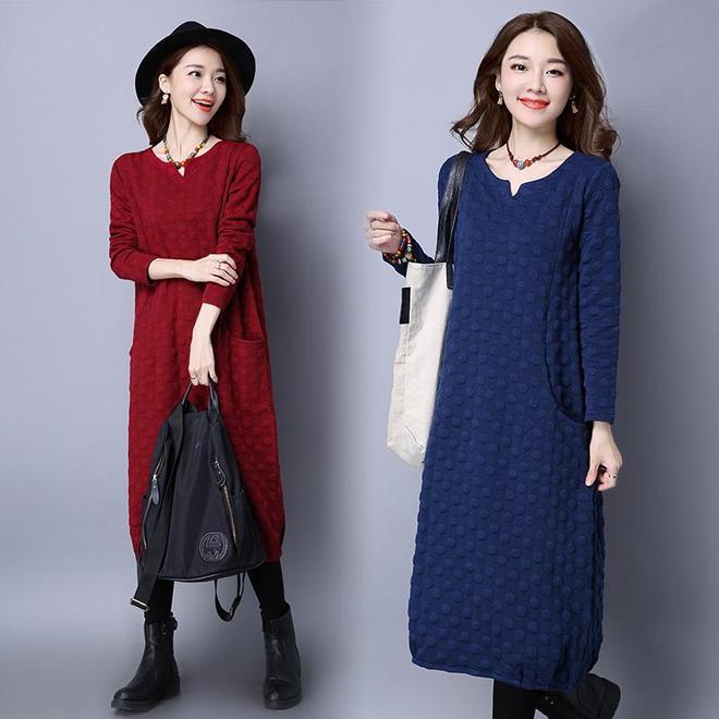 秋裝大碼裙剛上新,155斤小姨就買了5件,遮肚減齡有面子