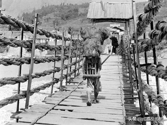 1917年四川舊影,灌縣古城普濟橋安瀾橋