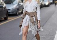襯衫裙別總搭高跟鞋了,搭配小白鞋也很不錯,有女人味還ins風