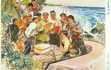 毛主席時代海軍宣傳畫,守島一條心,建島一家人