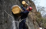 河南農民在懸崖上養土蜂,掛蜂箱的過程太驚險,沒有膽量不敢上