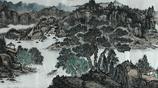 青年女畫家,侯豔敏小八尺山水畫作品,王屋攬勝圖
