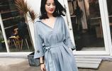 2017新款修身顯瘦V領氣質雪紡連衣裙夏季中長款收腰裙子
