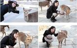 美女與小鹿親密互動