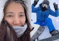 袁詠儀晒和張智霖結婚週年照,牽著手一起看雪景,還偶遇鄧超一家