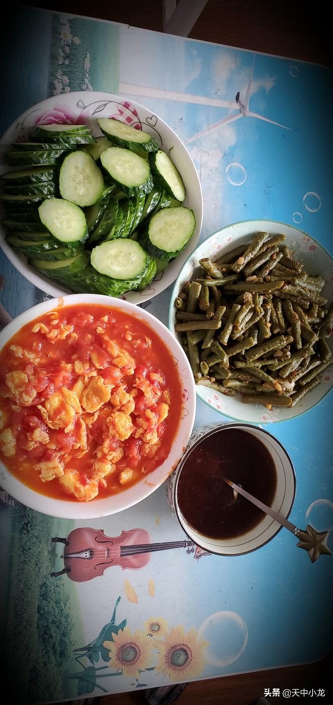 河南農家飯-涼撈麵-番茄雞蛋、豆角菜、黃瓜涼切,夏日必備技能