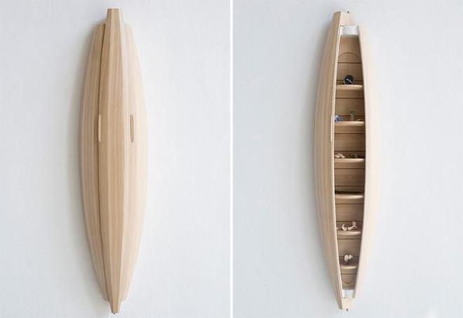 掛在牆上當壁櫃的迷你獨木舟,瞬間提升牆壁的檔次啊