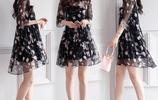 碎花裙子荷葉袖印花雪紡時尚連衣裙