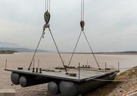 山西省黃河岸邊最大浮體泵站在芮城大禹渡罐區試水成功