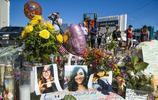 美國大規模槍擊事件發生六天後,街頭擺滿了鮮花和受害者照片