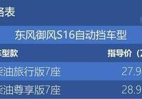 東風御風S16自動擋車型上市 售27.98-28.98萬元