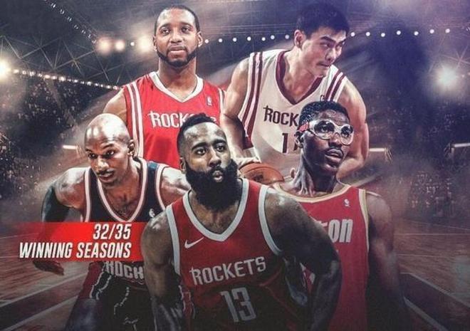 美媒評NBA火箭隊歷史上最佳陣容,2人助球隊拿2冠,哈登麥迪上榜