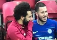 利物浦2-0力克切爾西后,薩拉赫和阿扎爾竊竊私語,你覺得他們在說什麼呢?