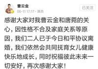 曹雲金和唐菀離婚,兩人先後發文,500萬是分手費還是撫養費?