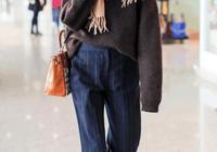 江疏影機場毛衣穿出英倫範 果然氣質才是關鍵