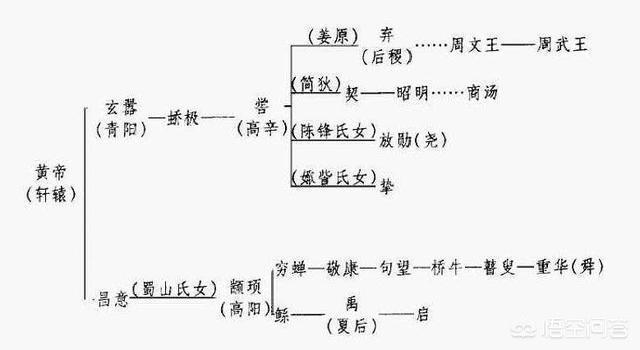 顓頊、帝嚳、堯、舜、禹和黃帝的世系關係是怎麼排列的?
