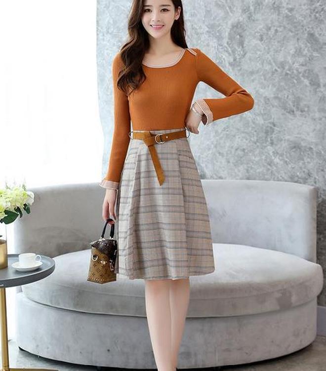 秋裝2017新款小香風毛衣套裝裙秋季顯瘦長袖氣質針織連衣裙