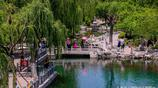 五龍潭公園清泉石上流,孩子們在清泉中盡情玩水