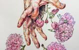 鞠水月在手,弄花香滿衣——鮮花與手水彩畫