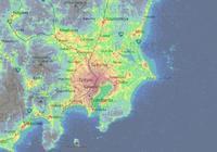 東亞五大都市圈同比例光汙染圖