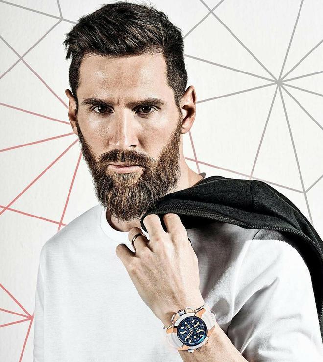 球星梅西為某品牌手錶代言,並且拍攝了帥氣的寫真