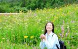 臥龍巴郎山下:花叢中摘蒲公英的女生