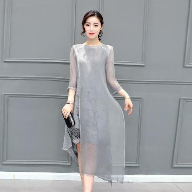 收腰顯瘦又顯高雪紡印花短袖連衣裙A字裙,立刻讓你變的麼麼噠