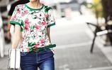 歐洲站減齡系列印花短袖T恤,時尚百搭、華麗顯瘦氣質滿分