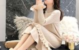 """最近又火了一種冬裙,也叫""""歐式毛衣裙"""",保暖洋氣,浪漫優雅"""