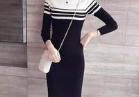 長袖針織連衣裙2017秋冬新款女裝寬鬆大碼中長款顯瘦打底毛衣裙子