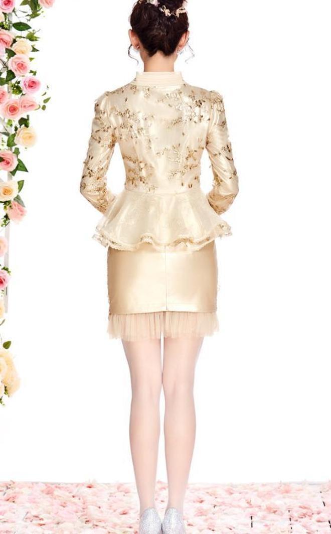 新中式連衣裙立領長袖氣質顯瘦a字裙+V領歐根紗拼接金色蕾絲小衫