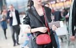 36歲韓雪皮衣+紅脣女王範十足,戴墨鏡扎高馬尾帥氣利落