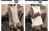 假兩件韓版中長款毛衣打底套頭2019新款襯衫領喇叭袖