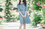2017夏裝新品休閒氣質拼色條紋雙排扣V領冰絲針織連衣裙