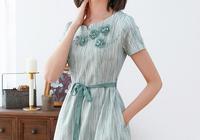 2019新款復古民族風裙子女,修身高腰條紋裙夏季中國風連衣裙