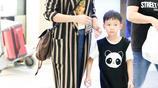 姚晨抱兒子現身機場逛商店,4歲小土豆又瘦又高遺傳媽媽大長腿