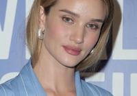 超模羅茜·漢丁頓-惠特莉身穿淡藍色條紋套裝在洛杉磯出席活動