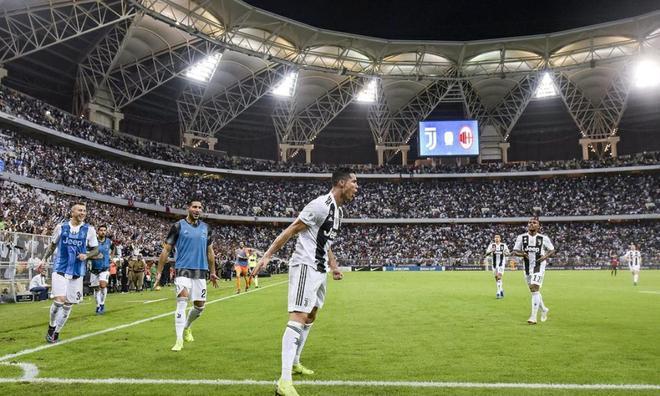 意大利超級盃比賽尤文圖斯1:0AC米蘭,C羅打進全場比賽唯一進球