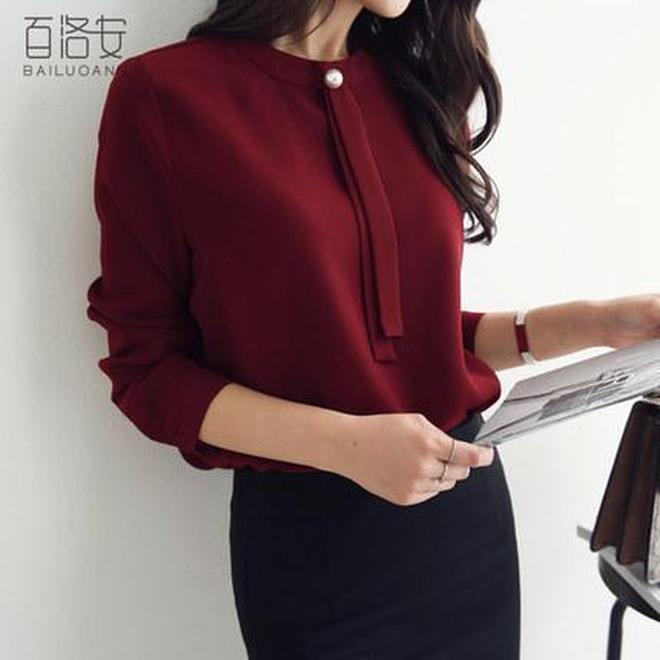 一眼即愛上的長袖雪紡襯衫+闊腳褲\/西裙,為精緻優雅女人所追求