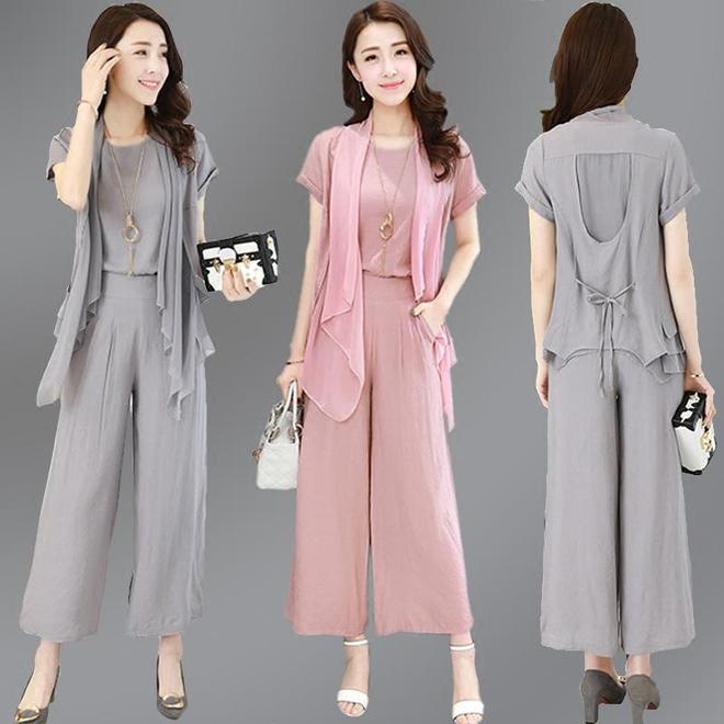 35-55歲女人穿短袖上衣+闊腿褲套裝,時髦舒適又顯瘦優雅氣質顯年輕!