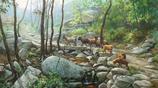 賈濤油畫家《家鄉的小路 流淌的小溪》