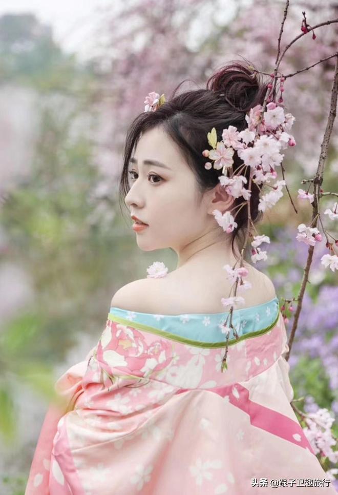 青龍寺落下了櫻花雨,美女大學生穿古裝賞櫻,唯美畫風人比花更美