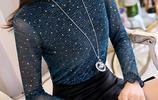 秋冬新款韓版潮裝 氣質顯瘦長袖女t恤+網紗T恤+簡約大碼T恤