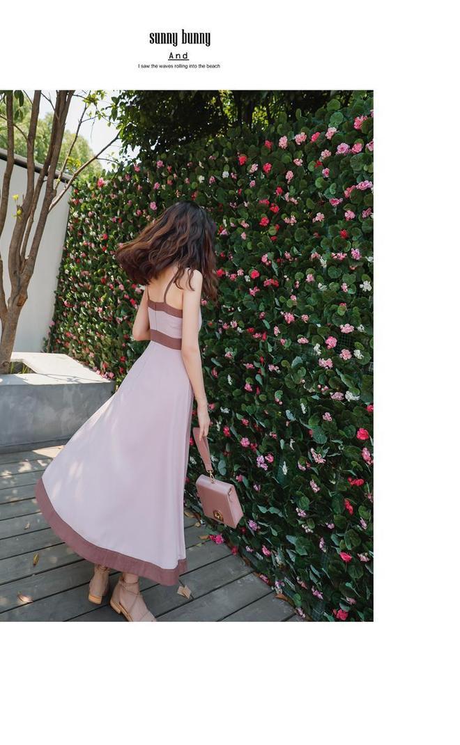 雪紡連衣裙女夏2017新款度假長裙高腰顯瘦裙子A字修身氣質吊帶裙
