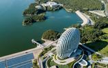 北京:航拍雁棲湖日出東方美景