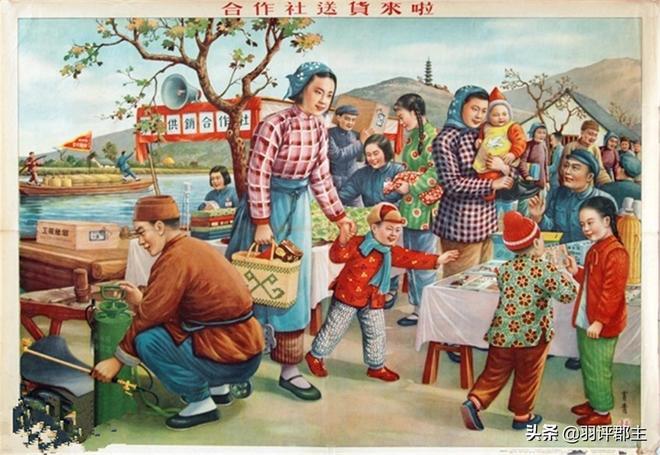 10張五十年代的老年畫,滿滿的回憶,圖6農村婦女摘棉花時的場景