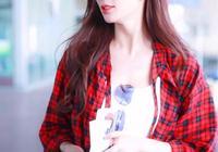 林志玲穿格子襯衫機場照片,優雅漂亮。
