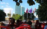 漫行隨筆 參觀遊覽美國邁阿密自由塔 夜晚塔身的美麗燈光引人注目