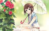 動漫二次元少女打傘壁紙——傘下的世界,風雨相伴